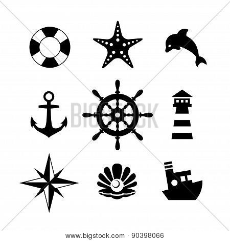 Sea icon collection isolated on white background