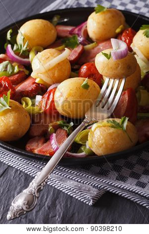 Delicious New Potatoes With Bacon And Onions, Vertical