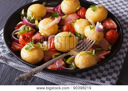 Warm Salad Of New Potatoes With Bacon And Vegetables,