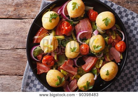 Rustic Food: New Potatoes With Bacon On Plate. Horizontal Top View