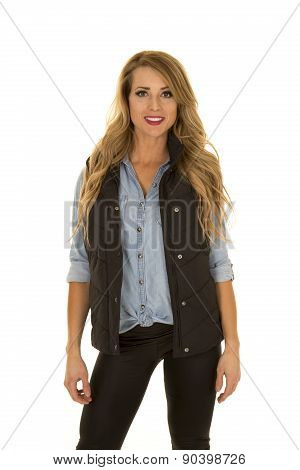 Woman With Black Vest Stand Look With Smile