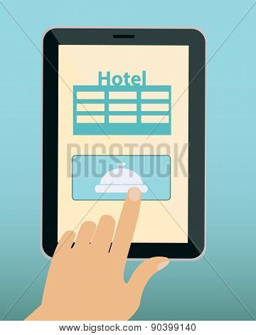 Online Reservation hotel. Hand and tablet. Vector illustration