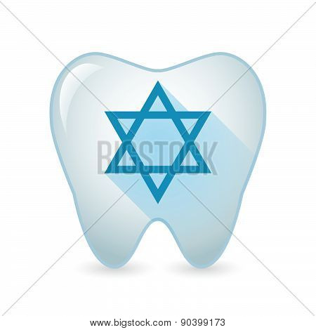 Tooth Icon With A David Star Sign