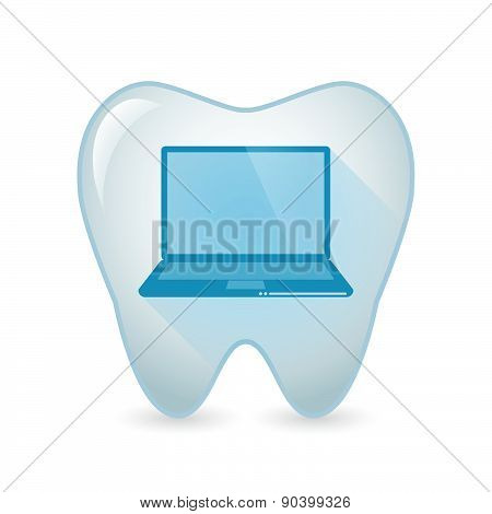Tooth Icon With A Lap Top