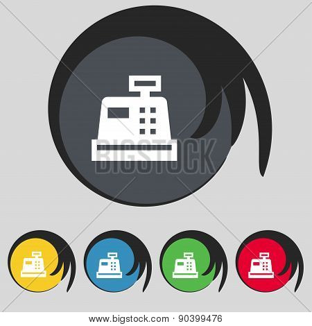 Cash Register Icon Sign. Symbol On Five Colored Buttons. Vector