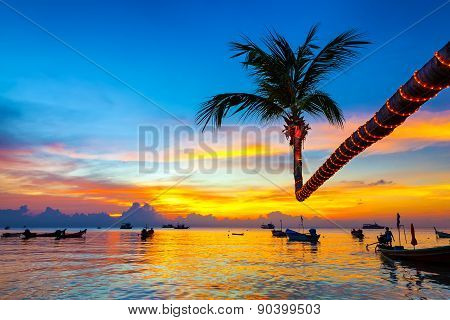 Beautiful Sunset On The Beach, Koh Tao, Thailand