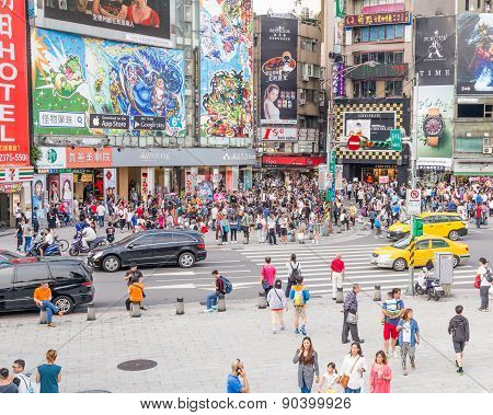 Crowds In Ximending District, Taipei