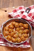 picture of meatball  - Meatballs with tomato sauce in a pan - JPG
