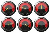 image of speedo  - Set of red speedometers for car or power or tachometers vector illustration - JPG