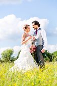 stock photo of sparkling wine  - Wedding bride and groom toasting with sparkling wine outside on field - JPG