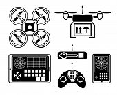 image of helicopter  - Vector quadrocopter or drone icon set - JPG