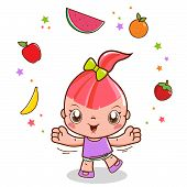 image of juggling  - A happy little girl juggling with healthy food - JPG