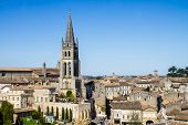 pic of bordeaux  - View of the bell tower of the monolithic church in Saint Emilion Bordeaux France - JPG