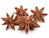 pic of spice  - Star anise spice fruits and seeds isolated on white background closeup - JPG