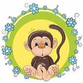 pic of child missing  - Greeting card cute Monkey with blue flowers - JPG
