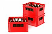 picture of crate  - red crate full with beer bottles isolated on white background - JPG