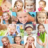 stock photo of mood  - photo collage of a cute little girl in a good mood - JPG