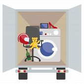 pic of moving van  - Moving van with with objects to deliver in flat style - JPG