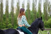 picture of horse girl  - beautiful girl riding a horse - JPG