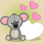 picture of koala  - Greeting card a cute Koala with hearts - JPG
