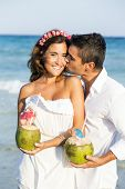 image of caribbean  - Couple enjoying their honeymoon in the Caribbean - JPG