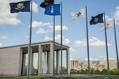 picture of virginia  - The Virginia War Memorial with the Richmond Virginia skyline  in the background - JPG