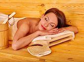 picture of sauna woman  - Young woman sleeping in sauna - JPG
