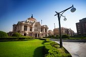 picture of palace  - Palace of fine arts in Mexico city capital downtown in the morning - JPG