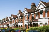 stock photo of row houses  - Row of Typical English Terraced Houses at London - JPG