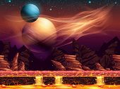 pic of fantastic  - fantastic landscape of the red planet horizontal seamless texture for the game design - JPG
