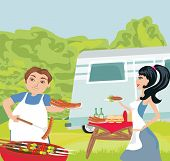 picture of frizzle  - couple outdoor grilling meat in the park  - JPG