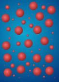 pic of red back  - Blue abstract background with red bubbles properly on the packaging or backing - JPG