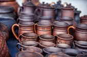 image of pottery  - Pottery for sale at outdoor market. Travel