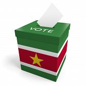stock photo of ballot-paper  - A ballot box bearing the Surinamese flag - JPG