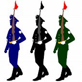 picture of parade  - Silhouette soldiers during a military parade - JPG