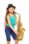 stock photo of saxophones  - Smiling happy girl wearing hat and playing alto saxophone on the white background - JPG