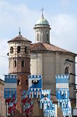 picture of pageant  - Cathedral and red tower during the Palio in Asti Italy - JPG
