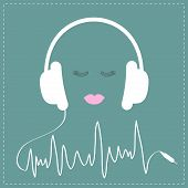 foto of cord  - White headphones with cord in shape of cardiogram track line - JPG