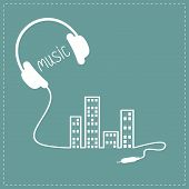image of cord  - Headphones cord in shape of equalizer building house with swith on light windows Music background card - JPG