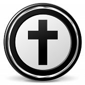 image of jesus sign  - illustration of jesus cross sign black and silver icon - JPG