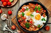 image of quinoa  - fried eggs with peppers tomatoes quinoa and mushrooms - JPG