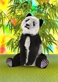 image of panda bear  - 3D digital render of a panda bear and green bamboo plants on a colorful background - JPG
