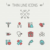 Medicine thin line icon set for web and mobile. Set include-molecule, medicine, doctor, stethoscope,