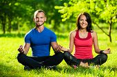 image of yoga  - Young man and woman doing yoga in the sunny summer park - JPG