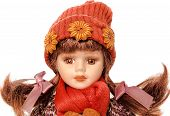 picture of baby doll  - Vintage girl baby doll wearing red  - JPG