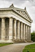 foto of bavaria  - Image of the Walhalla in Bavaria Germany with green meadow and dark clouds - JPG