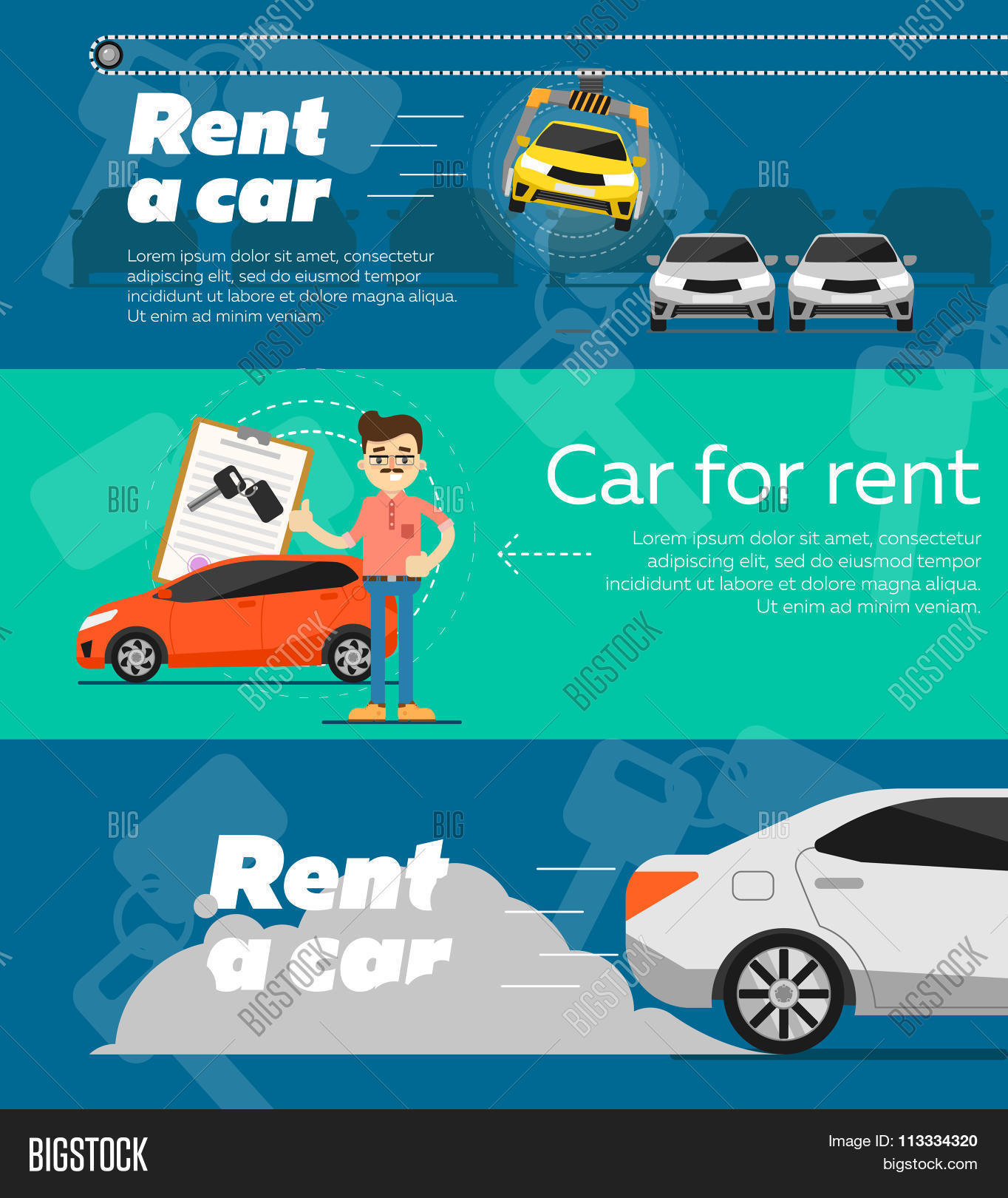 Rent Car Banner Car Rent Banner Vector Photo Bigstock