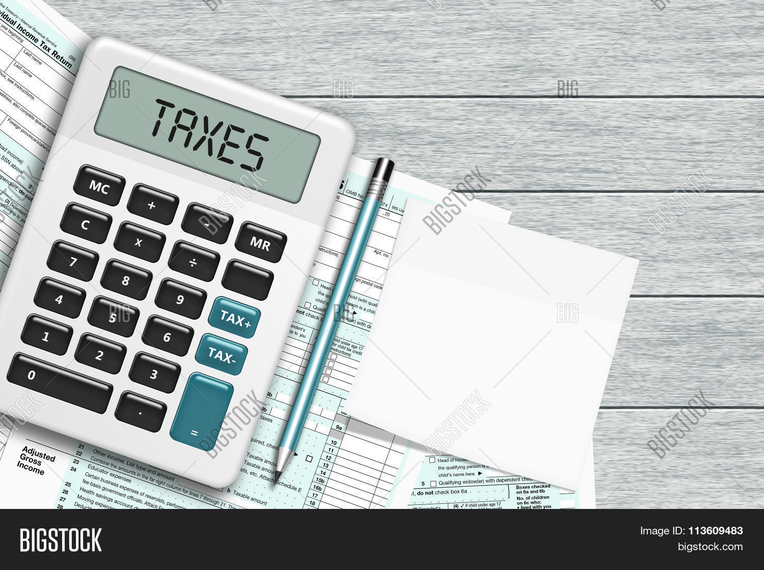 1040 tax form calculator note lying image photo bigstock for 1040 tax table calculator