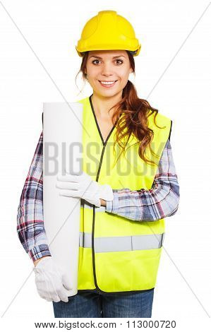 Young Woman In Construction Helmet And Yellow Vest