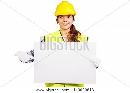 Young Woman In Construction Helmet With Nameplate